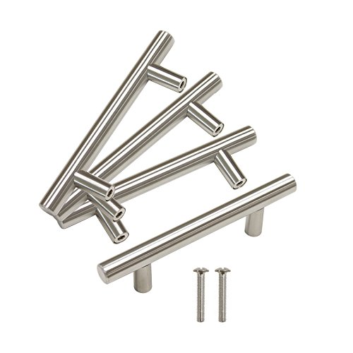 Gobrico Furniture Kitchen Cabinet Handle Door Hardware T Bar Drawe Pull Knob Stainless Steel - 76mm/3in Hole Center 127mm/5in Overall Length - 10Pack