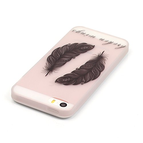 iPhone 5 5S SE Hülle mit Fluoreszenz , Modisch Blatt Transparent TPU Silikon Schutz Handy Hülle Handytasche HandyHülle Etui Schale Schutzhülle Case Cover für Apple iPhone 5 5S SE