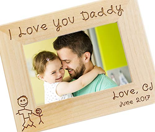 Personalized I Love Daddy Picture Frame - Fathers Day Gift, Gifts for Dad, New Dad Gift, Custom Engraved Photo Frame - WF27