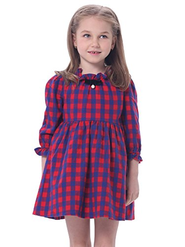Bonny Billy Girl's Child Ruffled Neck Long Sleeve Plaid Swing Skirt Dress 4-5Y Red & Blue