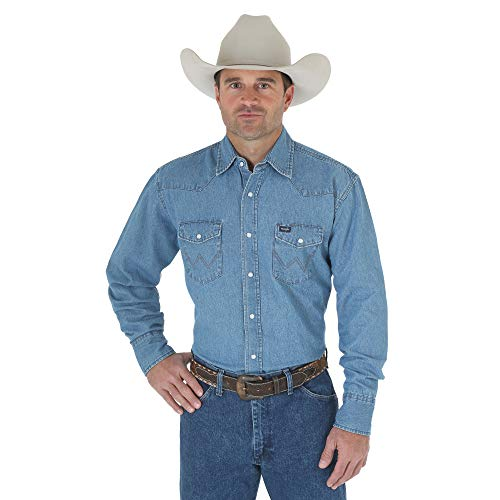 Wrangler Men's Western Work Shirt Washed Finish, Stonewashed, ()