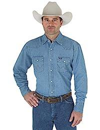 Men's Cowboy Cut Western Two Pocket Long Sleeve Snap...
