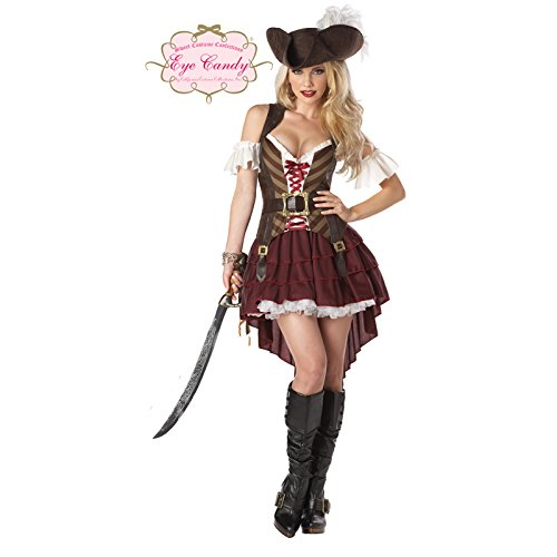 Costumes Sexy Swashbuckler Pirate Set, Burgundy, Medium