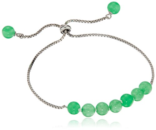 Sterling Silver Green Jade Bracelet