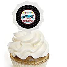 Big Dot of Happiness Let's Go Racing - Racecar - Cupcake Picks with Stickers - Race Car Birthday Party or Baby Shower Cupcake Toppers - 12 Count