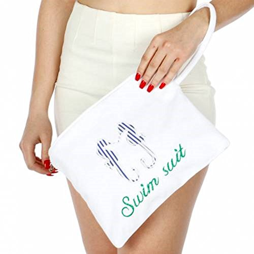 Knitting Factory Water Proof Cotton Towel Wet Bikini Bag Sea Horse Selection (White)
