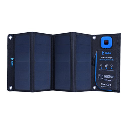 BigBlue New 28W Portable Solar Charger Dual USB Ports with Waterproof Sunpower Solar Panels & Digital Ammeter for Rechargeable USB Devices - iPhone Android GoPro Etc (28W New Version) (Portable Solar Charger)