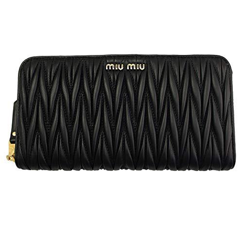 (MIU MIU Black Materasse Leather Long Wallet 5ml506 Zip Around)