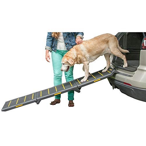 Pet Gear Tri-Fold Ramp 71 Inch Long Extra Wide Portable Pet Ramp for Dogs/Cats up to 200lbs, Patented Compact/Easy Fold with Safety Tether from Pet Gear