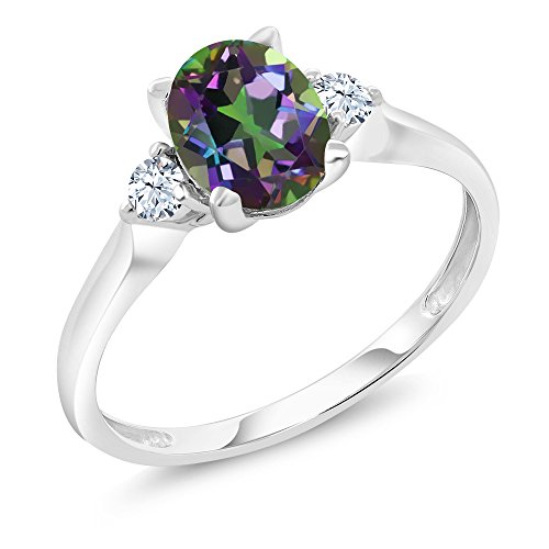Gold Mystic Topaz Ring - 10K White Gold 1.40 Ct Green Mystic Topaz White Created Sapphire 3-Stone Women's Ring (Ring Size 8)