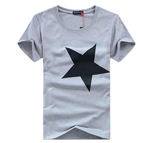 Charberry Fashion Mens Pentagram T-shirt 100% Contton Men Printed Fashion Short Sleeve T-shirt (US-L /CN-XL, Gray) from Charberry