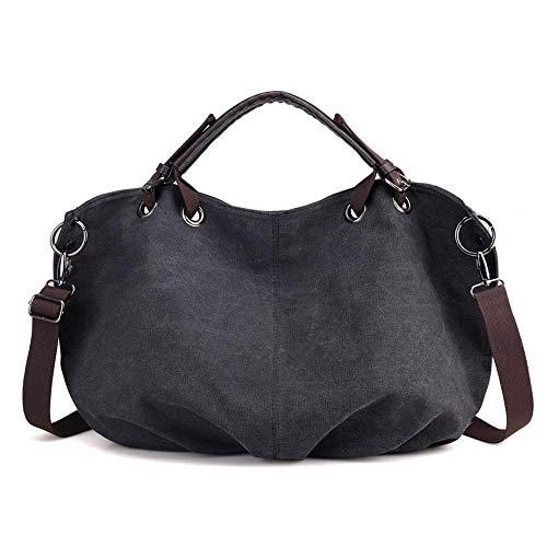Women Handbag Big Spalla Fashion Nero Portable Retro Wwave Hanger Canvas Bag OqBxa1