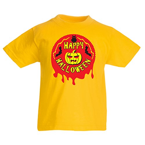 T Shirts for Kids Happy Halloween! - Party Clothes - Pumpkins, Owls, Bats (7-8 Years Yellow Multi -