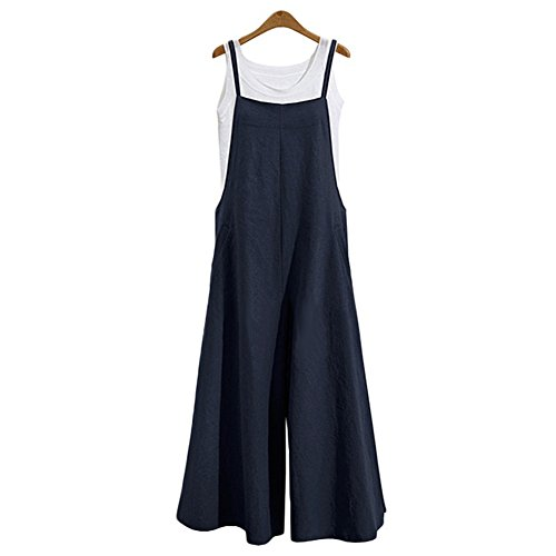 Women's Jumpsuit Casual Loose Long Suspender Twin Side Bib Pants Large Size (L, Navy) ()
