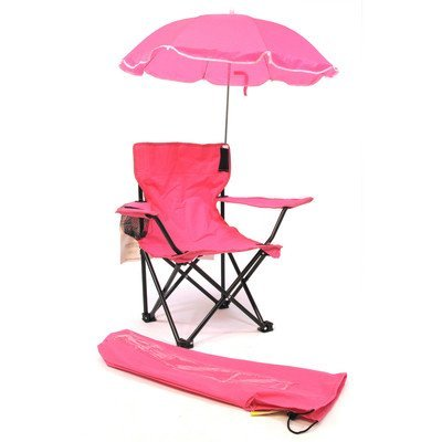 Redmon Beach Baby Kids Camp Chair with Carry Umbrella & Matching Tote Bag, Hot (Kids Outdoor Folding Chair)