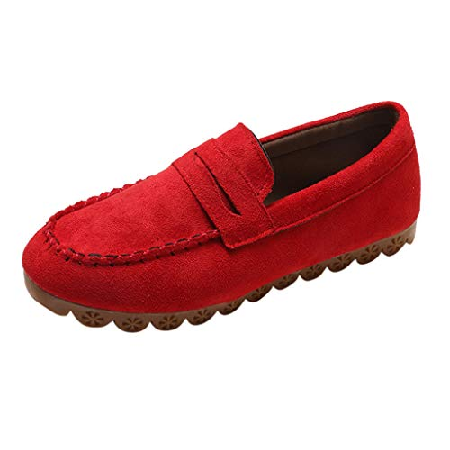 85d5c6d6e8937 Women Flat Loafers,Dacawin Ladies Fashion Flock Slip-on Round Toe Casual  Solid Color Non-Slip Peas Shoes Red