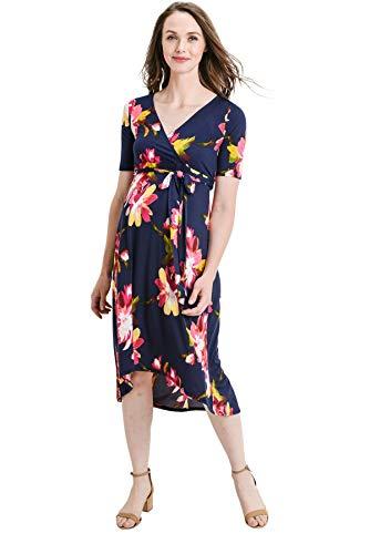 Hello MIZ Women's High-Low Surplice Wrap Maternity Dress with Waist Belt (Large, Dark Blue Floral) ()