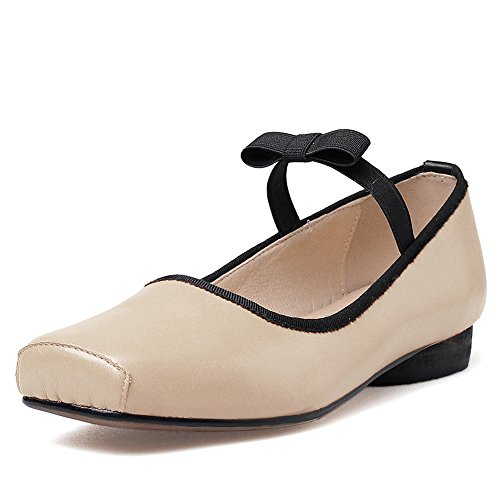 Neuf Sept Femmes En Cuir Véritable Orteil Carré Confort À La Main Robe Baller Chaussures Chaussures Nude