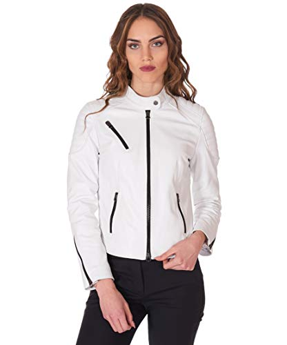 D'Arienzo White Quilted Leather Biker Jacket Smooth Aspect - XS, White