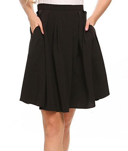 Chigant Women Vintage Pleated A-Line Flared Knee Length Skirt with Pockets