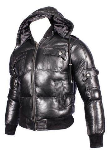 Herren abnehmbarer Kapuze aus schwarzem Leder Puffa Bomberjacke