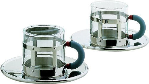 Alessi MGDT 2 Demitasse & Saucer Set, Silver by Alessi