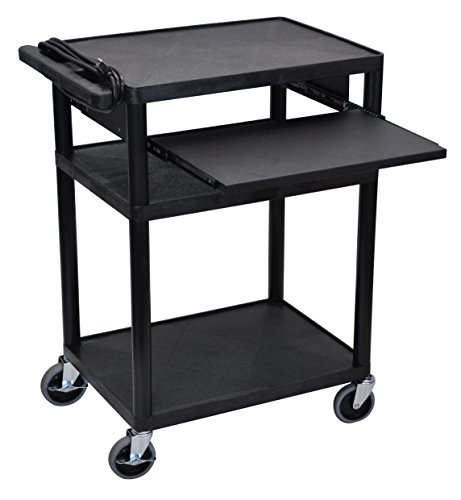 Offex Mobile 3-Shelf Presentation Storage AV Cart with Electric 4 Casters, Black (OF-LP34LE-B)