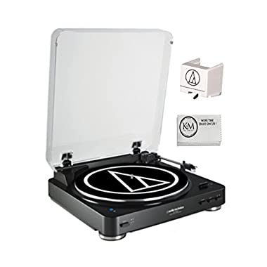 Audio-Technica Bluetooth Wireless Belt-Drive Stereo Black Turntable AT-LP60BK-BT with EXTRA! ATN3600L Replacement Stylus