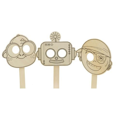 (Bulk Buy: Darice Crafts for Kids Wood Mask 3 Assorted Styles Pirate, Robot, or Frog (24-Pack))
