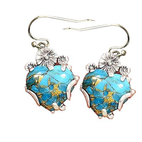 Women Retro Faux Turquoise Love Heart Dangle Hook Earrings Charm Banquet Jewelry