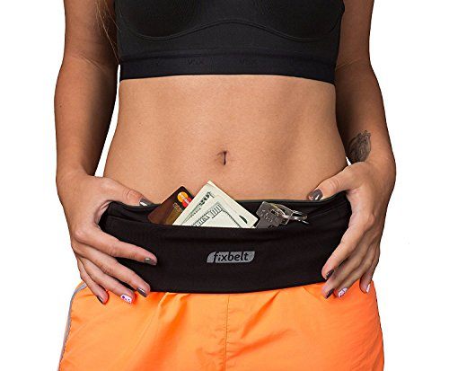 Running Belt & Workout Waist Belt by Fixbelt - Stylish Waist Pouch Bag for Men and Women - Phone Holder for Running, Cycling, Fitness and Traveling - Fits iPhone 6 Plus (Black, X-Large)