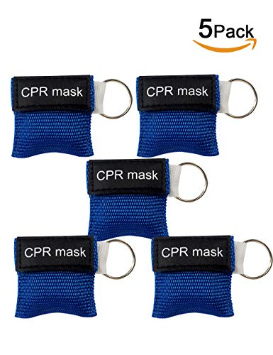 (CPR Face Shield with Keychain for First Aid or AED Training (Blue, 5 Packs))