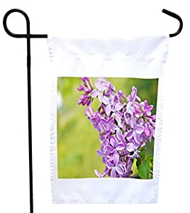 Rikki Knight Spring Lilac Violet Flowers on Green Background Floral House or Garden Flag, 12 x 18-Inch Flag Size with 11 x 11-Inch Image