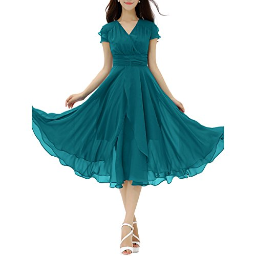 BubbleKiss Women Chiffon Cap Sleeve V-Neck Flounce Pleated Sheer Swing Solid Color Midi Skater Dress Chiffon Flounce