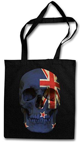 CLASSIC NEW ZEALAND SKULL FLAG Hipster Shopping Cotton Bag Cestas Bolsos Bolsas de la compra reutilizables - Bandera cráneo Schädel Banner Fahne nueva Zelandia
