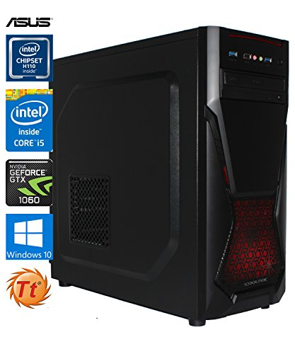 SNOGARD Gamer PC | Intel Core i5-6600, 3GB Nvidia Geforce GTX1060, 8GB DDR4 RAM, 240GB SSD + 1TB HDD + CD/DVD-Rewriter | Gaming-PC Komplett System | Custom Desktop PC Gaming Computer | Spiele-PC