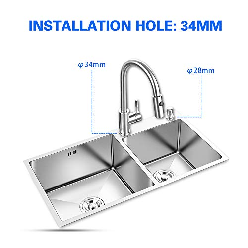 FChome Kitchen Sink Double Bowl,30.7X17 Inch Undermount Stainless Steel Kitchen Sink 3mm Thickness with Free Accessories,Brushed Nickel by FChome (Image #3)
