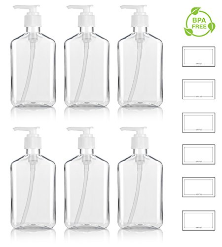 8 oz / 250 ml Clear PET (BPA Free) Plastic Oblong Flask Style Refillable Bottle with White Lotion Pump (6 pack) + Labels