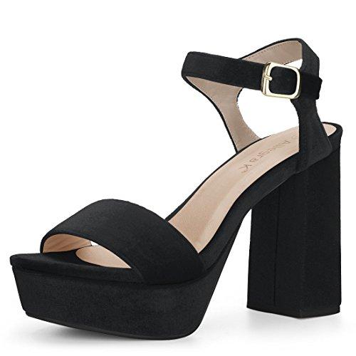 Allegra K Women's Velvet Slingback Ankle Strap Platform Heels Black Sandals - 7.5 M US -