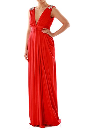 MACloth Women V Neck Long Jersey Prom Dress Wedding Party Formal Evening Gown Champagne