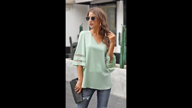 luvamia Women's Casual V Neck Blouse 3/4 Bell Sleeve Mesh Panel Shirts Loose Top 7