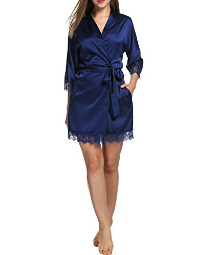 Blau Chambre de Nuit en 1 de Pyjama de Nuit Ceinture Robe BeautyUU Robe marine Femme Satin Kimono Vtement TwqxBO4
