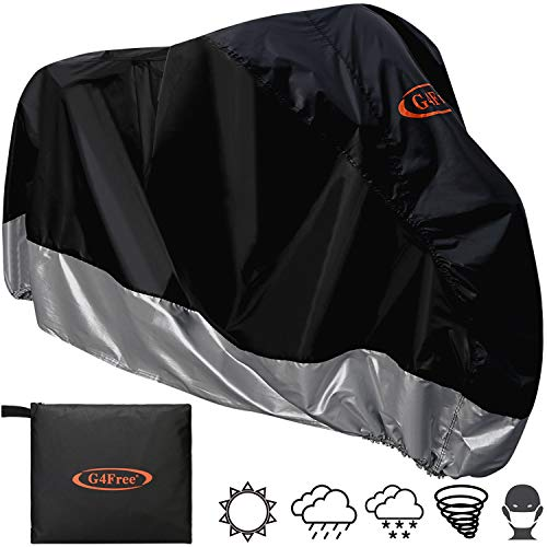 G4Free Waterproof Motorcycle Cover, All Weather Outdoor Protection, 210D Oxford Durable & Tear Proof for 104 Inch XXL Motorcycles Like Honda, Yamaha, Suzuki, - 96 Optical Wheel