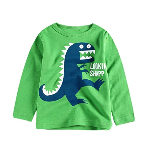 Todaies Toddler Children Cotton Cartoon Tops Boys Letter Print T-Shirt Outfits Clothes 2018 (4T, Green) -