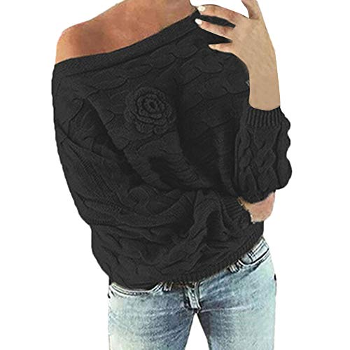 Clearance Sale!!ZEFOTIM Womens Multicolor Striple Flower Sweater Casual Knitted Long Sleeve Pullover(Large,Black) ()