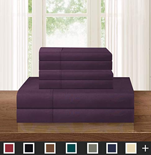 Elegant Comfort Luxurious Soft 1500 Thread Count Egyptian 5-Piece Premium Hotel Quality Wrinkle Resistant Coziest Bedding Set, Easy All Around Elastic Fitted Sheet, Deep Pocket, Split King, Purple ()