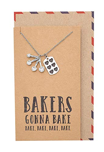 Quan Jewelry Gifts for Mom Measuring Spoons Pendant Necklace on Funny Quote Card, Stainless Steel, 16 inches to 18 inches -