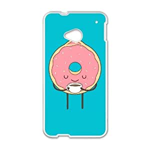 HTC One M7 Cell Phone Case White donut loves coffee aluf