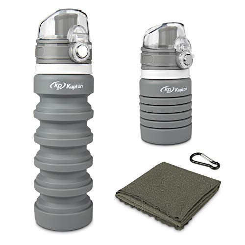 Kupton Collapsible Water Bottle & Microfiber Cooling Towel, Reusable BPA Free Foldable Water Bottles for Travel Gym Camping Hiking, Portable Leak Proof Sports Water Bottle with Carabiner 500ml