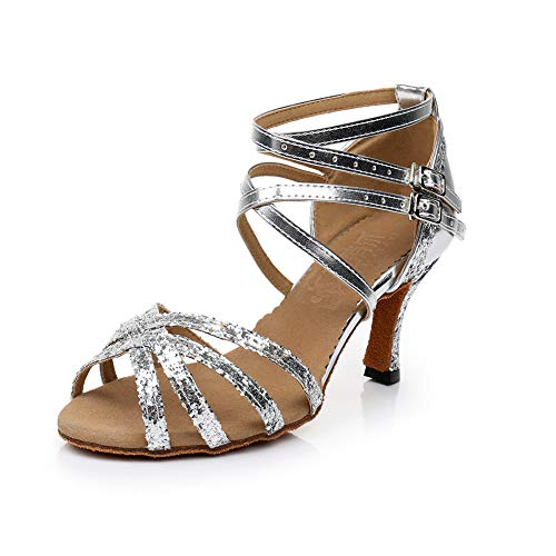 Dress First Women Sexy Dance Shoes Ballroom Latin Sandal Wedding Party Pump Shoes Suede, Silver, 6.5
